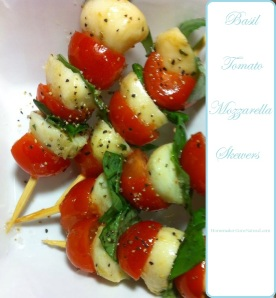 Basil, Tomato & Mozzarella Skewers | Homemaker Gone Natural