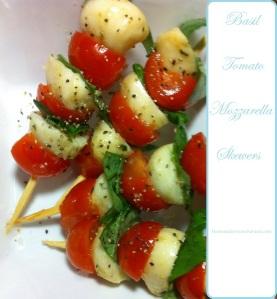 Basil Tomato Mozzarella skewers